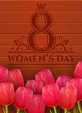 Tarjeta de felicitación del día del ` s de las mujeres Fotos de archivo libres de regalías