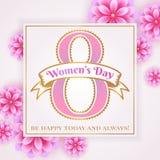 Tarjeta de felicitación del día del ` s de las mujeres con las flores Fotografía de archivo libre de regalías