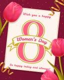 Tarjeta de felicitación del día del ` s de las mujeres con los tulipanes Imagen de archivo