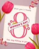 Tarjeta de felicitación del día del ` s de las mujeres con los tulipanes Fotos de archivo libres de regalías