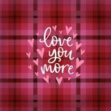 Tarjeta de felicitación del día de tarjetas del día de San Valentín, invitación La mano puso letras al amor blanco del texto uste stock de ilustración