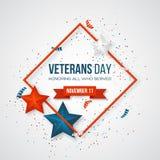 Tarjeta de felicitación del día de veteranos ilustración del vector