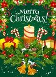 Tarjeta de felicitación del deseo del día de fiesta del vector de la Feliz Navidad stock de ilustración