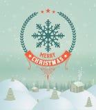 Tarjeta de felicitación del deseo de los días de fiesta de la Feliz Navidad Fotos de archivo