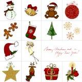 Tarjeta de felicitación del doodle de la Navidad Imagen de archivo