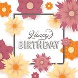 Tarjeta de felicitación del feliz cumpleaños Imagenes de archivo