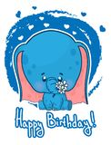 Tarjeta de felicitación del feliz cumpleaños con el elefante lindo de la historieta Imagenes de archivo