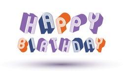 Tarjeta de felicitación del feliz cumpleaños con la frase hecha con el styl retro 3d Fotos de archivo libres de regalías