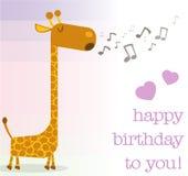 Tarjeta de felicitación del feliz cumpleaños con la jirafa del canto libre illustration