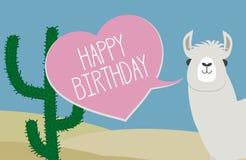 Tarjeta de felicitación del feliz cumpleaños con la llama y la burbuja en forma de corazón del discurso libre illustration