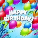Tarjeta de felicitación del feliz cumpleaños con los globos Fotos de archivo libres de regalías