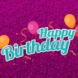 Tarjeta de felicitación del feliz cumpleaños con los globos, el confeti y las flámulas libre illustration