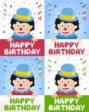 Pequeño payaso del feliz cumpleaños ilustración del vector