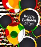 Tarjeta de felicitación del feliz cumpleaños Globos de papel con las fronteras coloridas Los descensos colorean en fondo Ilustrac Fotografía de archivo libre de regalías
