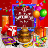 Tarjeta de felicitación del feliz cumpleaños Pila de cajas de regalo envueltas coloridas Porciones de presentes Globos del partid Fotografía de archivo