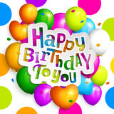 Tarjeta de felicitación del feliz cumpleaños Vaya de fiesta los globos coloridos, el confeti y las letras elegantes en fondo punt Foto de archivo libre de regalías