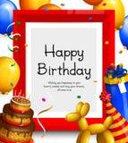 Tarjeta de felicitación del feliz cumpleaños Vaya de fiesta los globos, el marco rojo para su texto, la torta, la caja de regalo, Imagenes de archivo
