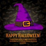 Tarjeta de felicitación del feliz Halloween con el sombrero del Foto de archivo