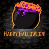 Tarjeta de felicitación del feliz Halloween con la caldera y Foto de archivo