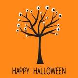Tarjeta de felicitación del feliz Halloween Silueta negra del árbol con los ojos Rama de la planta Globo del ojo de la historieta Imágenes de archivo libres de regalías