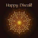 Tarjeta de felicitación del festival de Diwali con textura y la mandala del brillo del oro Foto de archivo