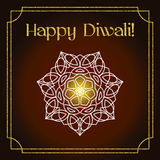 Tarjeta de felicitación del festival de Diwali con textura y la mandala del brillo del oro Fotografía de archivo