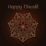 Tarjeta de felicitación del festival de Diwali con textura y la mandala del brillo del oro Fotografía de archivo libre de regalías