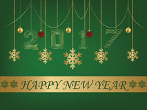 Tarjeta de felicitación del fondo del verde de la Feliz Año Nuevo 2017 ilustración del vector