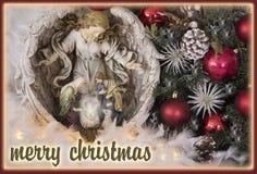 Tarjeta de felicitación del fondo de la Nochebuena con el texto Foto de archivo