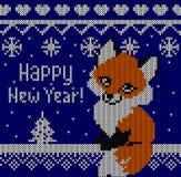 Tarjeta de felicitación del Fox de la Feliz Año Nuevo Fondo azul que hace punto Fotos de archivo libres de regalías