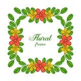 Tarjeta de felicitación del illutration de Vectore con diversas clases de colores del marco de la flor de la hoja stock de ilustración