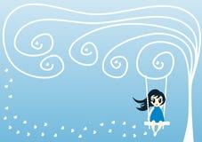 Tarjeta de felicitación del invierno con la muchacha en un oscilación Imagenes de archivo