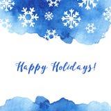 Tarjeta de felicitación del invierno con los copos de nieve, árbol stock de ilustración