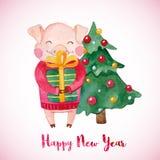 Tarjeta de felicitación del invierno de la acuarela con el cerdo lindo con la caja del árbol de navidad y de regalo libre illustration
