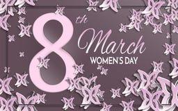 Tarjeta de felicitación del marrón del día del ` s de las mujeres Foto de archivo libre de regalías