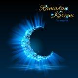 Tarjeta de felicitación del mes musulmán santo el Ramadán en azul