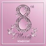 Tarjeta de felicitación del modelo del rosa del día del ` s de las mujeres Fotografía de archivo
