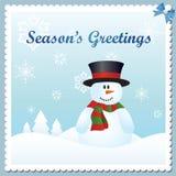 Tarjeta de felicitación del muñeco de nieve Foto de archivo libre de regalías
