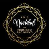 Tarjeta de felicitación del oro de Feliz Navidad Spanish Christmas Fotografía de archivo