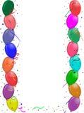 Tarjeta de felicitación del partido con los globos Fotos de archivo