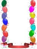 Tarjeta de felicitación del partido con los globos y la cinta Fotografía de archivo