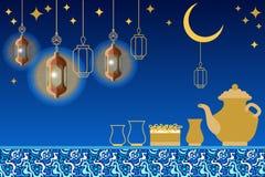 Tarjeta de felicitación del partido de Iftar Comida, bebida, luna creciente, estrellas, linternas orientales y ornamentos en fond libre illustration