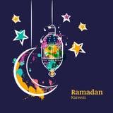 Tarjeta de felicitación del Ramadán con la linterna, la luna y las estrellas tradicionales de la acuarela en el cielo nocturno stock de ilustración