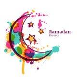 Tarjeta de felicitación del Ramadán con la luna y las estrellas decorativas de la acuarela stock de ilustración