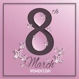 Tarjeta de felicitación del rosa del día del ` s de las mujeres Fotos de archivo
