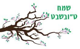 Tarjeta de felicitación del Tu Bishvat, cartel Día de fiesta judío, Año Nuevo de árboles árbol floreciente Ilustración del vector Fotografía de archivo libre de regalías