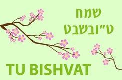 Tarjeta de felicitación del Tu Bishvat, cartel Día de fiesta judío, Año Nuevo de árboles árbol floreciente Ilustración del vector Fotografía de archivo