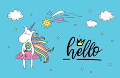 Tarjeta de felicitación del unicornio del garabato con hola las letras Libre Illustration