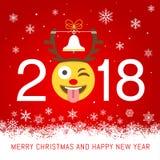 Tarjeta de felicitación del vector del Año Nuevo 2018 Foto de archivo libre de regalías