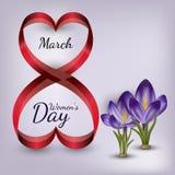 Tarjeta de felicitación del vector con las flores 8 de marzo día de las mujeres s ilustración del vector